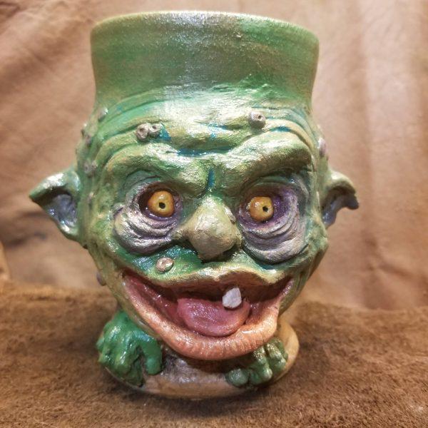 Sideview of the Green Boglin Mug from Handmade Curiosities