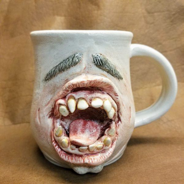 Handmade sculpted pottery horror mouth mug Gomez with eyebrows and chin