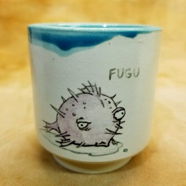 Handmade handpainted sake cup with Fugu pufferfish