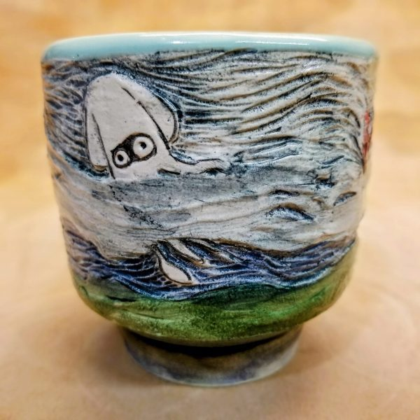 Handmade Handpainted textured Blooper cup from Mario