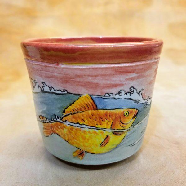 Handmade Hanpainted Japanese-inspired Great Giant Goldfish Cup