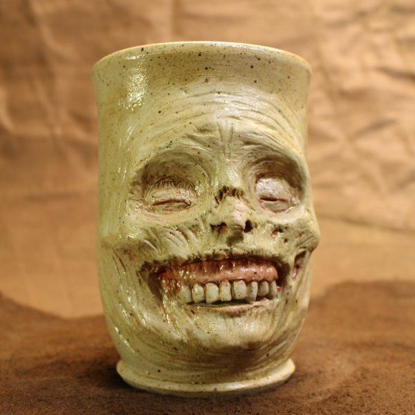 Grim Grinning Ghast Handmade Stoneware Tumbler