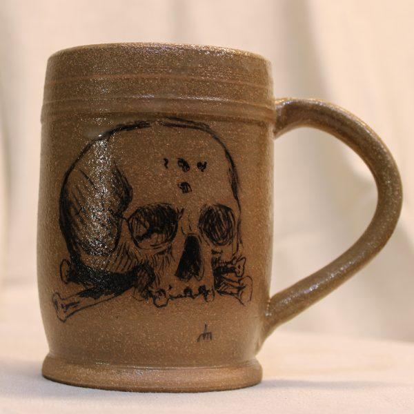 Sketchy Skull Stoneware Pottery Mug