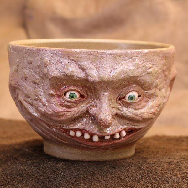 Handmade Grins for Days Creepy Pottery Bowl