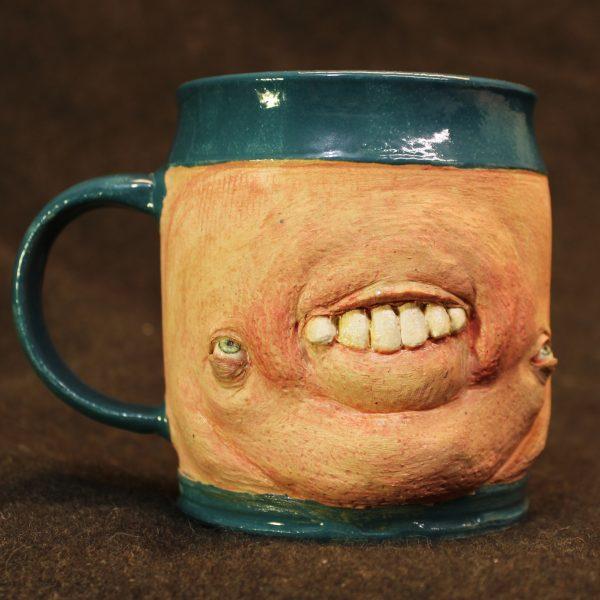 Handmade Weird Pottery Fleshy Fish-like Face Mug