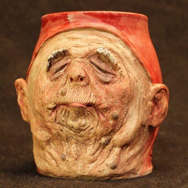 Handmade Mug of a Hyper-realistic elderly monk in red cowl