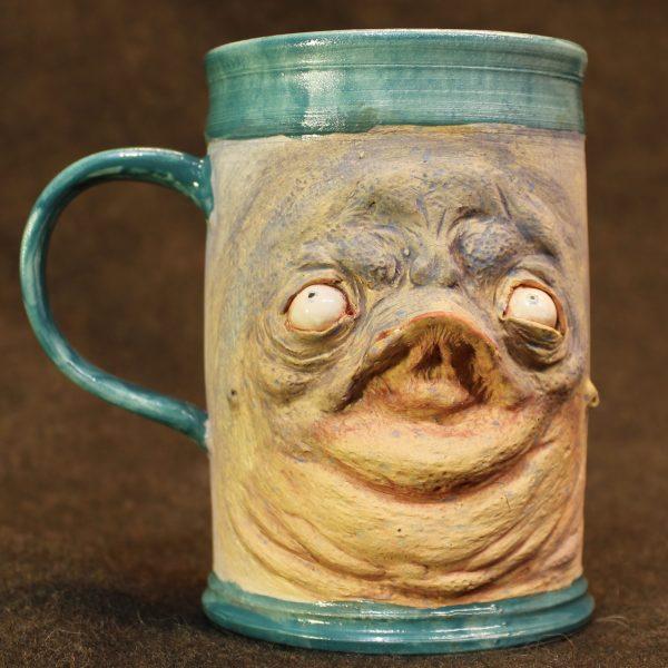 Handmade Tall Teal and Derpy Pottery Mug