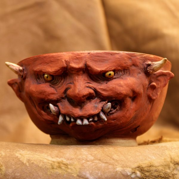 Red Japanese Oni Pottery Bowl